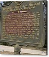 Ga-108-2 Birthplace Of Bishop A. G. Haygood And Miss Laura A. Haygood Acrylic Print