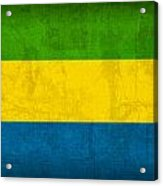 Gabon Flag Vintage Distressed Finish Acrylic Print