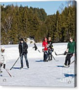 Game Of Ice Hockey On A Frozen Pond  Acrylic Print