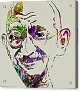 Gandhi Watercolor Acrylic Print