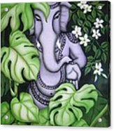 Ganesh With Jasmine Flowers Acrylic Print