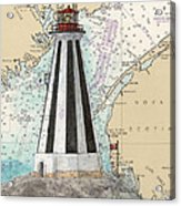 Gannet Rock Lighthouse New Brunswick Canada Nautical Chart Art Acrylic Print