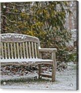 Garden Bench During Winter Snowfall At Sayen Gardens Acrylic Print