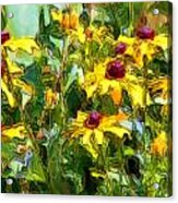 Garden Flowers In Yellow Acrylic Print