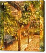 Garden Flowers With Bench Photo Art 02 Acrylic Print