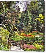Garden With A Bridge Acrylic Print
