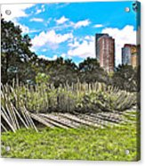 Garden With Bamboo Garden Fence In Battery Park In New York City-ny Acrylic Print by Ruth Hager