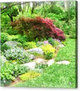 Garden With Japanese Maple Acrylic Print