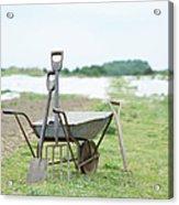 Gardening Tools And Wheel Barrow On Acrylic Print
