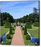 Gardenpath With Blue Gates - Burgundy Acrylic Print