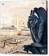 Gargoyle Stryga On The Notre-dame Cathedral In Paris. France. Acrylic Print