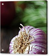 Garlic And Vegetables On A Rustic Acrylic Print