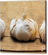 Garlic On Old Barrel Board Acrylic Print