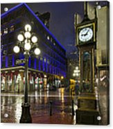 Gastown Steam Clock On A Rainy Night Acrylic Print