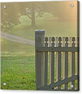 Gate In Morning Fog Acrylic Print by Olivier Le Queinec