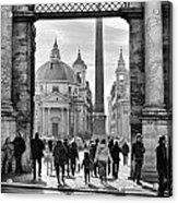 Gate To Piazza Del Popolo In Rome Acrylic Print