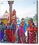 Gathering At Hindu Festival Of Ram Nawami In Kathmandu-nepal Acrylic Print