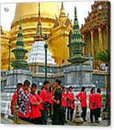Gathering Near Pagodas Of Grand Palace Of Thailand In Bangkok Acrylic Print