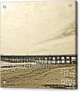 Gaviota Pier In Morning Sepia Tone Acrylic Print