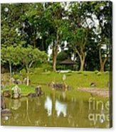 Gazebo Trees Lake And Rock Garden In Singapore Chinese Gardens Acrylic Print