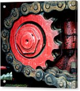 Gear Wheel And Chain Of Old Locomotive Acrylic Print by Matthias Hauser