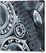Gears And Cogs Titanium And Steel Power Acrylic Print by Christian Lagereek