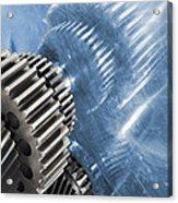 Gears Industrial Engineering In Blue Acrylic Print by Christian Lagereek