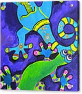 Gecko's Dipped In Paint Acrylic Print