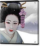 Geisha In Snow On Mt. Fuji Acrylic Print