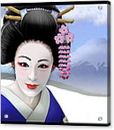 Geisha On Mount Fuji Acrylic Print