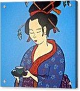 Geisha With Cup Acrylic Print