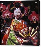 Geisha With Orchids Acrylic Print