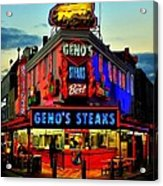 Geno's Steaks Acrylic Print by Benjamin Yeager