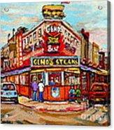 Geno's Steaks Philadelphia Cheesesteak Restaurant South Philly Italian Market Scenes Carole Spandau Acrylic Print
