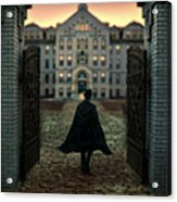 Gentleman In Top Hat And Cape Walking Through Gates Acrylic Print