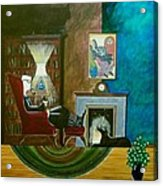 Gentleman Sitting In Wingback Chair Enjoying A Brandy Acrylic Print