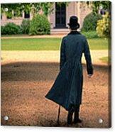 Gentleman Walking Towards A House Acrylic Print
