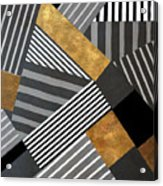 Geo Stripes In Gold And Black II Acrylic Print