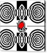 Geometric Art Black White Red Abstract No.382. Acrylic Print by Drinka Mercep