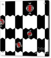 Geometric Minimalistic Art Black White Red Abstract Print No.228. Acrylic Print