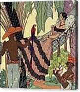 George Barbier. Spanish Lady In Hammoc With Parrot.  Acrylic Print