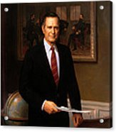 George Hw Bush Presidential Portrait Acrylic Print by War Is Hell Store