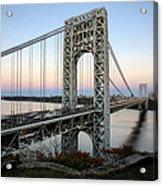George Washington Bridge Sunset Acrylic Print by Susan Candelario