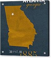 Georgia Tech University Yellow Jackets Atlanta College Town State Map Poster Series No 043 Acrylic Print