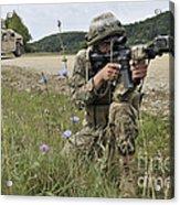 Georgian Army Sergeant Aims An M4 Acrylic Print