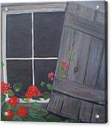 Geraniums At Log Cabin Acrylic Print by Glenda Barrett