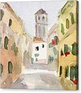 Geraniums Cannaregio Watercolor Painting Of Venice Italy Acrylic Print