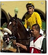Getting Ready - Jockey And Horse For The Race Acrylic Print