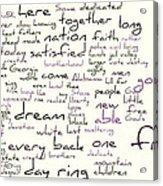 Gettysburg Address And I Have A Dream Acrylic Print by David Bearden
