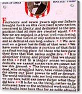 Gettysburg Address By Abraham Lincoln  Acrylic Print
